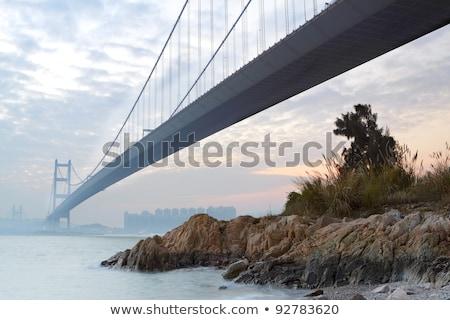 városi · belváros · naplemente · pillanat · Hongkong · sziluett - stock fotó © cozyta