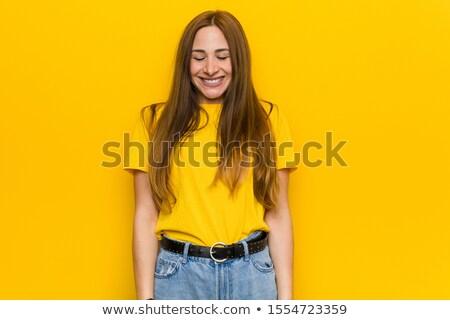 Utangaç mutlu genç kadın Stok fotoğraf © Bananna