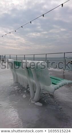 Frozen benches, Nyon, Switzerland Stock photo © Elenarts