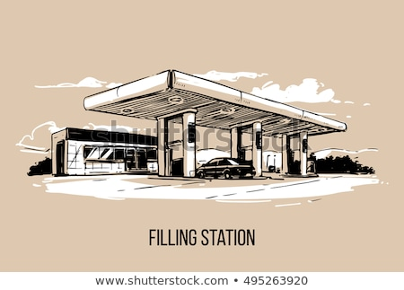sketch gas pump for refueling car on gas station isolated on w stock photo © rufous