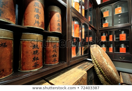 Chinese Tea Shop The Label With Chinese Word It Is The Name O Stok fotoğraf © cozyta