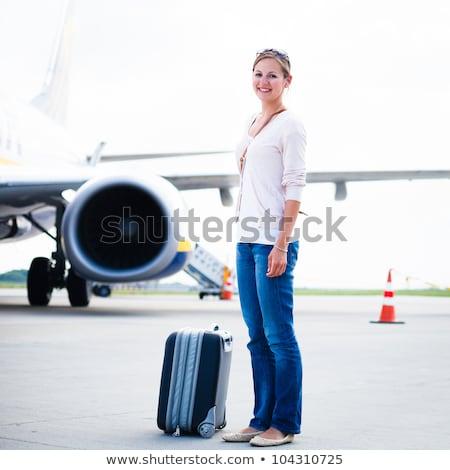 Foto stock: Mulher · jovem · aeroporto · aeronave · negócio · feliz · viajar