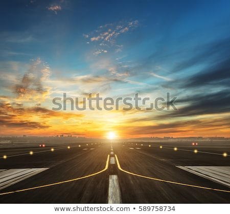 Sunset view on runway lights Stock photo © kawing921
