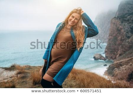 seksi · kadın · dağ · kadın · seksi · gece · kaya - stok fotoğraf © konradbak