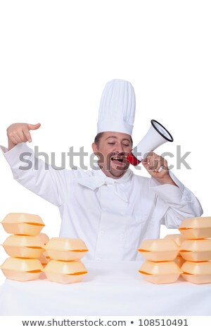 Chef stood in front of fast food packaging Stock photo © photography33