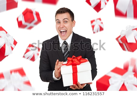 Portre genç iş adamı hediyeler seksi mutlu Stok fotoğraf © Andersonrise