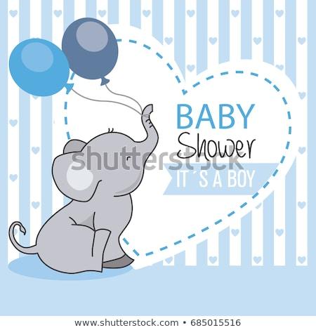 baba · fiú · zuhany · kártya · elefánt · léggömbök - stock fotó © balasoiu