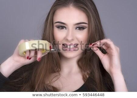nő · vicces · olló · portré · fiatal · vörös · hajú · nő - stock fotó © piedmontphoto