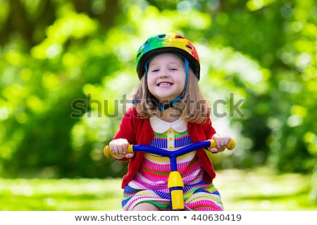かわいい · 少女 · 自転車 · ドレス · 笑顔 - ストックフォト © travnikovstudio