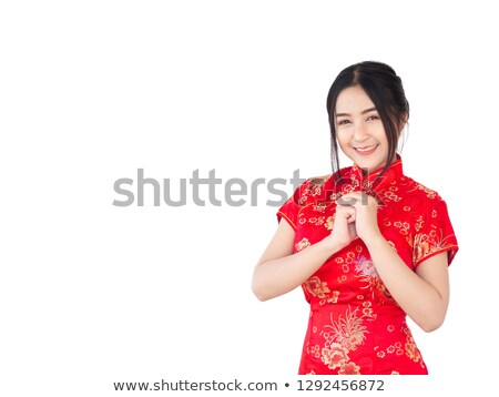 Beautiful woman wearing in magnificent red dress isolated on whi Stock photo © Victoria_Andreas