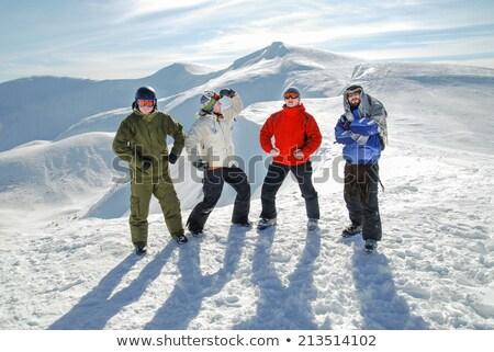 Dört kayakçı beyaz spor siluet tehlike Stok fotoğraf © mayboro1964