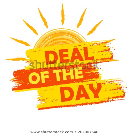 summer deal of the day yellow and orange drawn label stock photo © marinini
