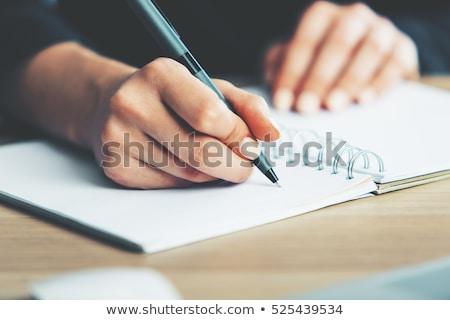 kadın · el · yazı · notepad · fincan · kahve - stok fotoğraf © punsayaporn