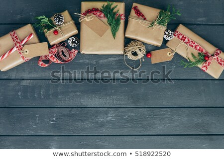 String Tied Green Christmas Parcel Stock photo © frannyanne