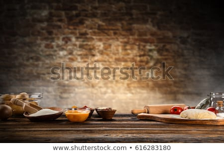 ingredients for dough on white wooden table stock photo © hasloo