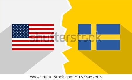 米国 スウェーデン ミニチュア フラグ 孤立した 白 ストックフォト © tashatuvango