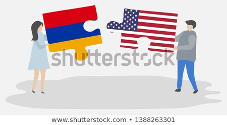 usa and armenia flags in puzzle stock photo © istanbul2009