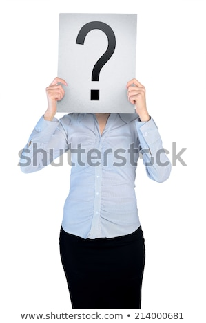 Woman cover face with question board Stock photo © fuzzbones0