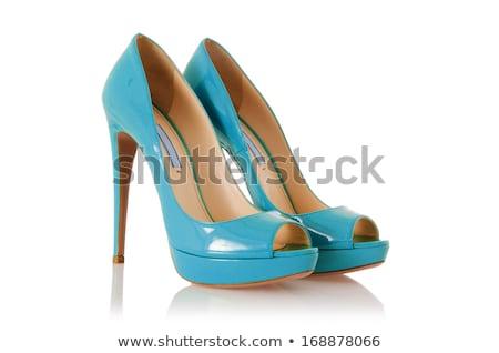 Niebieski wysoki buty odizolowany biały sexy Zdjęcia stock © tetkoren