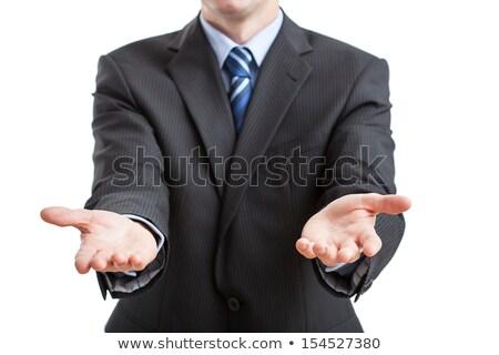 üzletember nyitva kézmozdulat copy space szürke üzlet Stock fotó © lunamarina