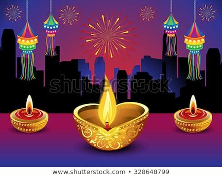 художественный подробный Дивали огня город свет Сток-фото © pathakdesigner
