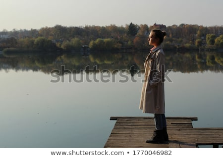 A young Black girl near the wooden bridge Stock photo © bluering