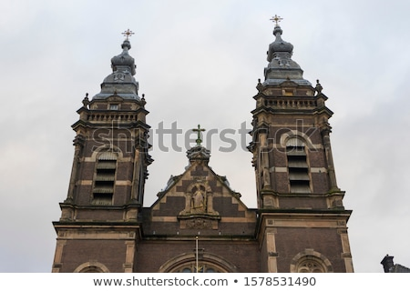 Iglesia Amsterdam horizonte barrio antiguo canal Holanda Foto stock © neirfy