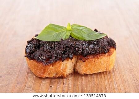 黒 プレート 写真 オリーブ 野菜 トースト ストックフォト © monkey_business
