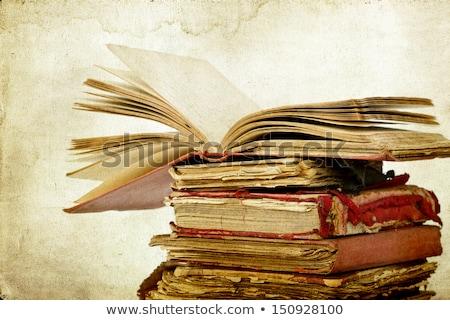 Alten Lehrbücher gestapelt Hintergrund blau College Stock foto © Frankljr
