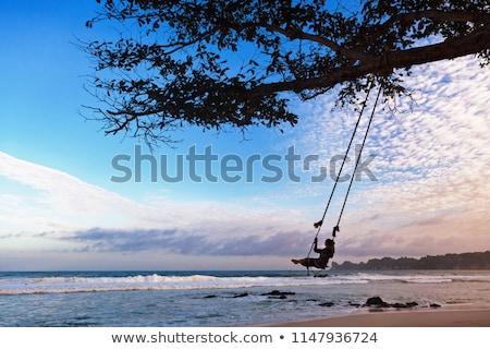 Genç kız ağaç salıncak çim doğa çocuk Stok fotoğraf © IS2