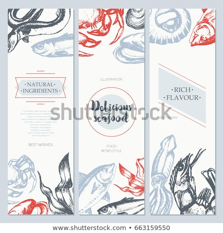 Bannière modèle fruits de mer illustration alimentaire fond Photo stock © bluering