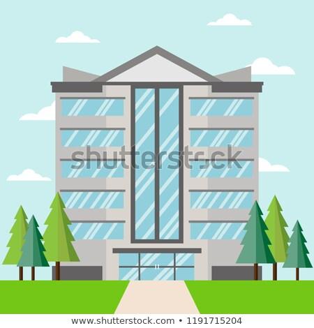 building with entrance vector cartoon illustration stock photo © rastudio