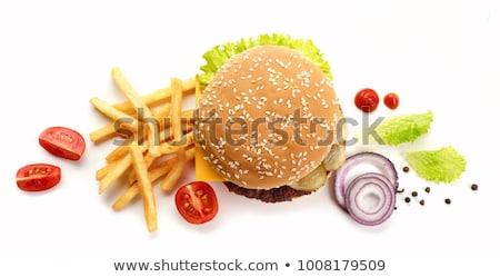 Patates Burger gıda arka plan salata Stok fotoğraf © M-studio