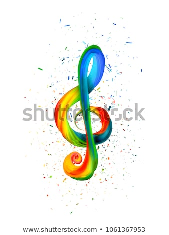 Colorful treble clef in the form of twisted paint on a white background Stock photo © m_pavlov