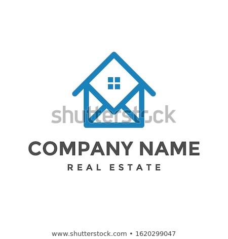 abstract house logo icon design home chat concept for real esta stock photo © taufik_al_amin