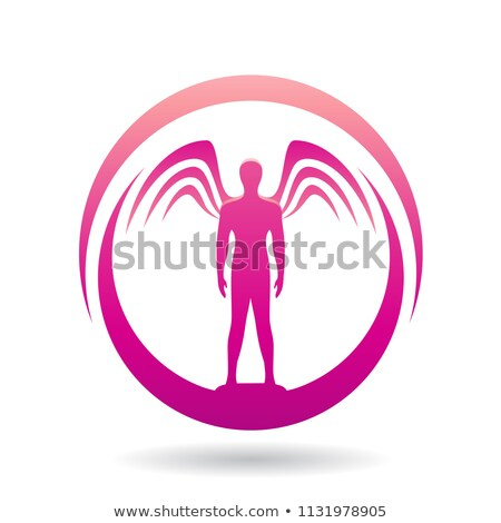 man with wings magenta icon vector illustration stock photo © cidepix
