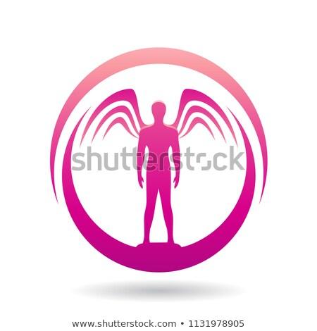 Homem asas magenta ícone vetor ilustração Foto stock © cidepix