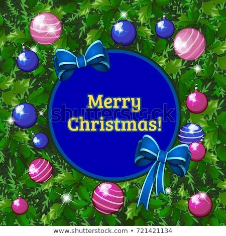 karácsony · keret · kicsi · kék · hópelyhek · sarkok - stock fotó © lady-luck