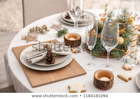 Christmas plate with gingerbread cookie, table setting for X-mas dinner, vector illustration. Stock photo © ikopylov