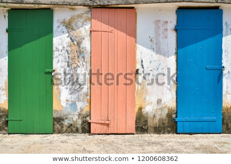 Few old wooden colorful doors on shabby light wall background Stock photo © bezikus