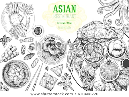 Ramen Chinese traditional noodles. Vector Asian food Stock photo © MaryValery