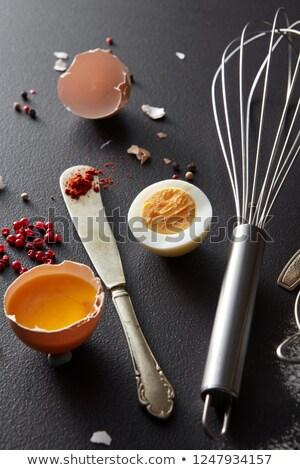 Nyers főtt tojás fém habaró kés piros Stock fotó © artjazz