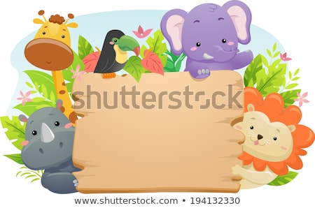 Wild animals and blank boards Stock photo © colematt