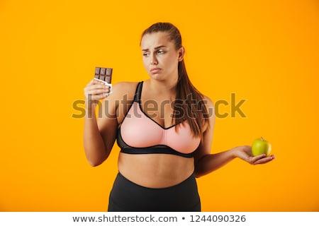 Stockfoto: Afbeelding · kaukasisch · mollig · vrouw · trainingspak