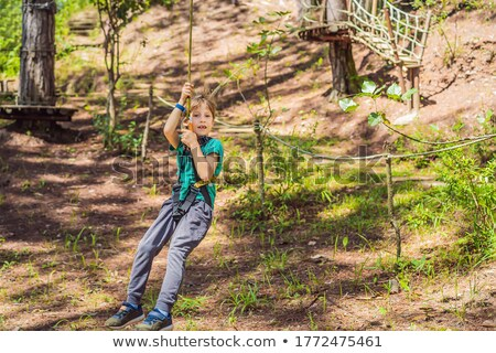 Portrait of cute little boy and girl walk on a rope bridge in an adventure rope park Stock photo © galitskaya