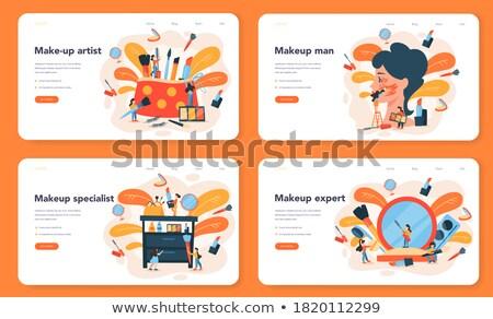 visage makeup visagiste and brushes set vector stock photo © robuart
