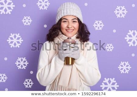 Elegante morena menina quente café Foto stock © studiolucky