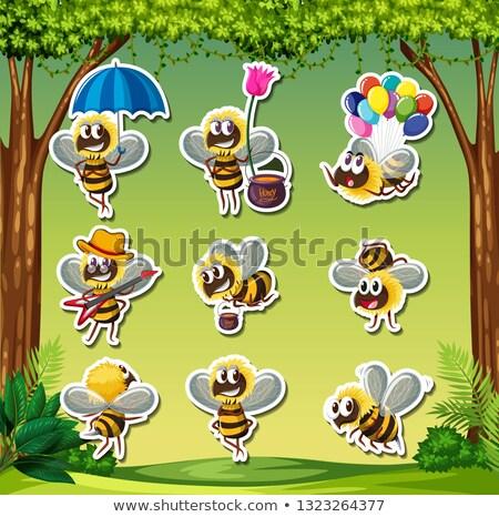 Pszczoła naklejki charakter ilustracja projektu liści Zdjęcia stock © bluering