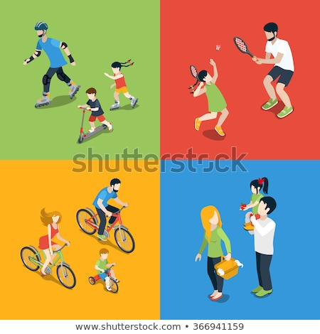 Skate flat isometric icons Stock photo © netkov1