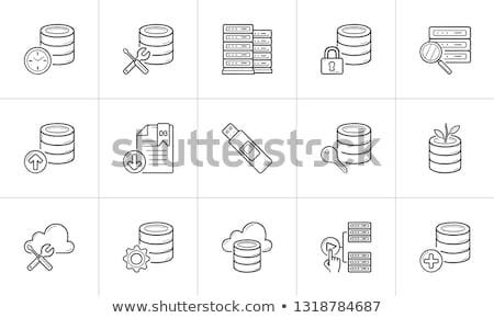 Serveur dessinés à la main doodle icône base de données Photo stock © RAStudio